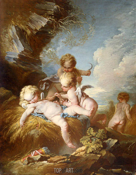The Cherub Harvesters, c.1733/34 | Boucher | Gemälde Reproduktion
