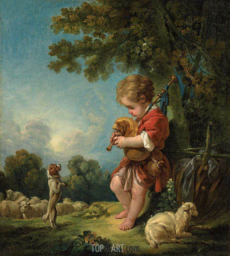 Boucher | Shepherd Boy Playing Bagpipes, c.1754