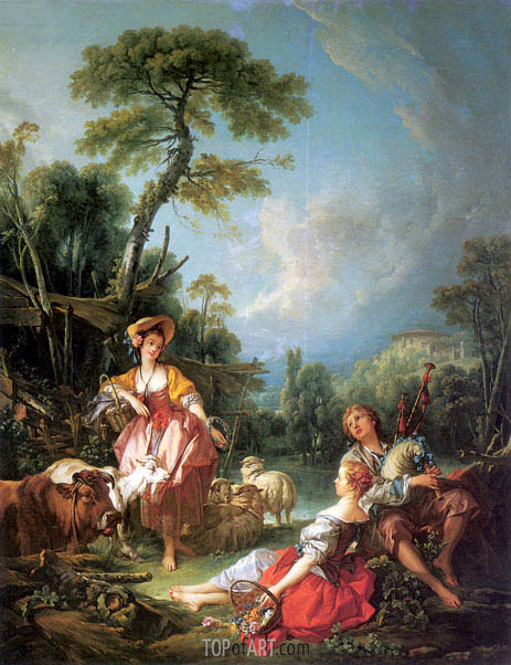 A Summer Pastoral, 1749 | Boucher | Painting Reproduction