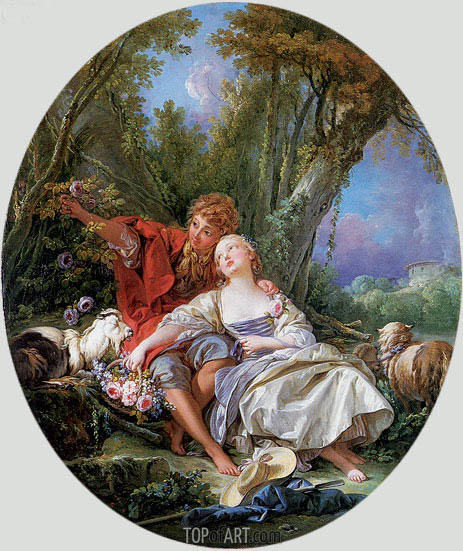 Shepherd and Shepherdess Reposing (The School of Love), 1761 | Boucher| Gemälde Reproduktion