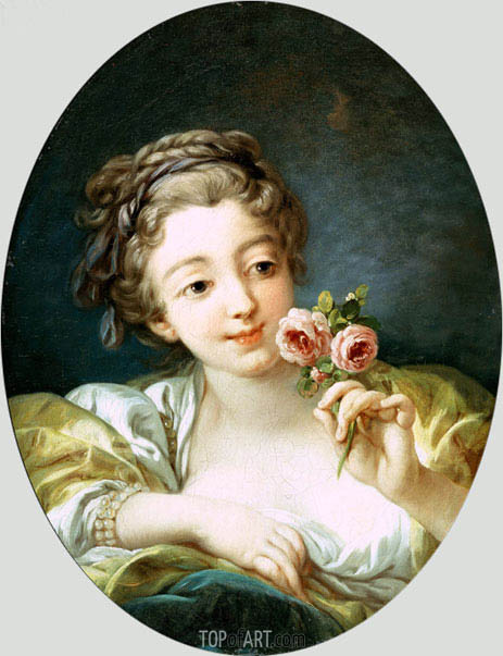 Girl with Roses, c.1760 | Boucher| Painting Reproduction