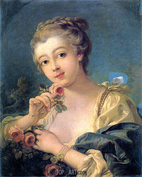 Young Woman with a Bouquet of Roses, undated | Boucher | Painting Reproduction