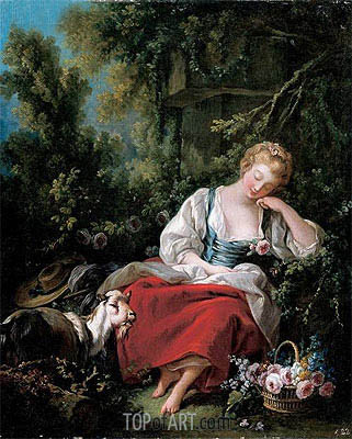 Dreaming Shepherdess, c.1760/63 | Boucher| Painting Reproduction