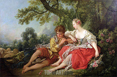 Shepherd Piping to a Shepherdess, c.1747/50 | Boucher | Painting Reproduction