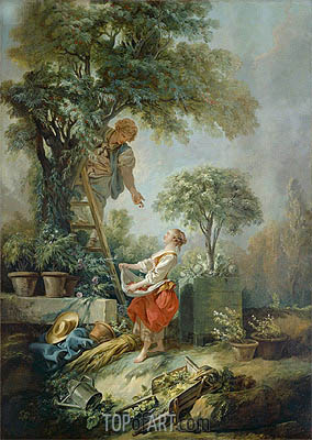 Landscape with Figures Gathering Cherries, 1768 | Boucher| Gemälde Reproduktion