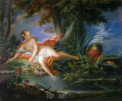 The Bather Surprised,  | Boucher| Gemälde Reproduktion