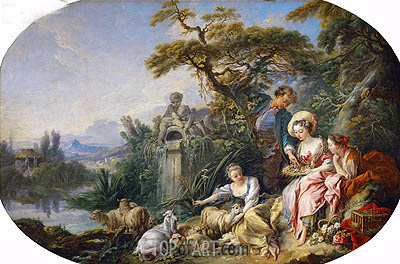 The Shepherd's Presents (The Nest), undated | Boucher | Painting Reproduction