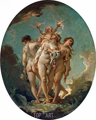 The Three Graces carrying Amor, God of Love, undated | Boucher | Painting Reproduction