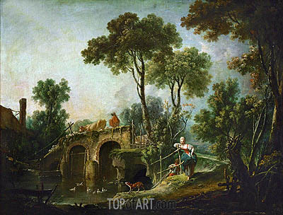 The Bridge, 1751 | Boucher| Gemälde Reproduktion
