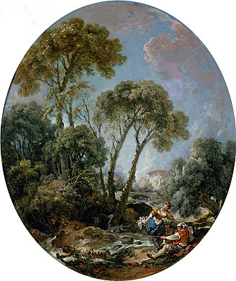 Landscape with Fisherman and a Young Woman, 1769 | Boucher| Painting Reproduction
