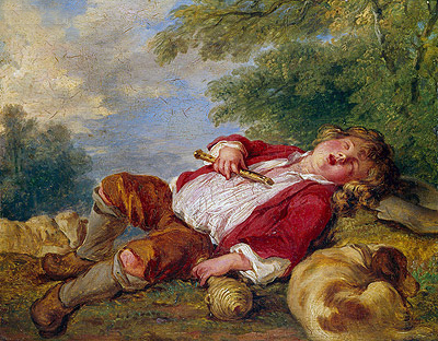 Sleeping Shepherd, undated | Boucher| Painting Reproduction