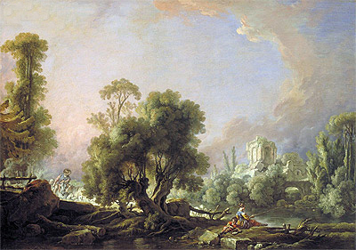 Idyllic Landscape with Woman Fishing, 1761 | Boucher | Gemälde Reproduktion