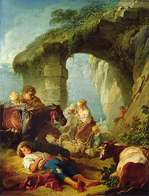 Pastoral Scene, undated | Boucher| Painting Reproduction