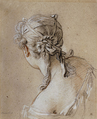 Head of a Woman from Behind, c.1740 | Boucher | Painting Reproduction