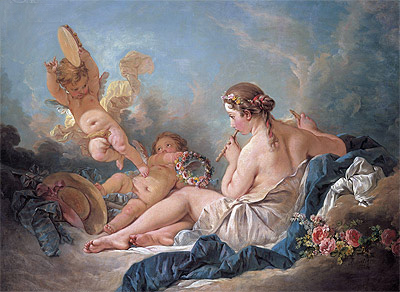 Boucher | The Muse Euterpe (A Reclining Nymph Playing the Flute with Putti), 1752