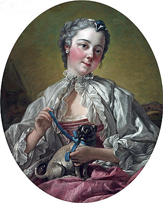 Young Lady Holding a Pug Dog, c.1745 | Boucher | Painting Reproduction
