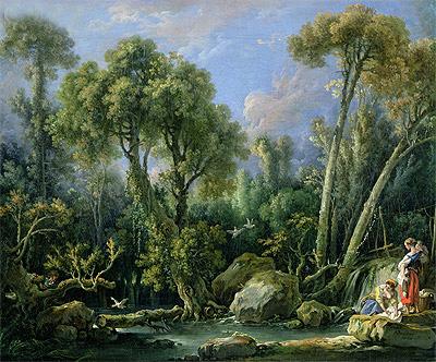 Laundresses in a Landscape, 1760 | Boucher | Painting Reproduction