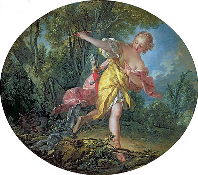 Rhea Sylvia Fleeing from the Wolf, 1756 | Boucher| Painting Reproduction