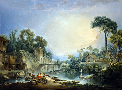 The Rustic Bridge, c.1756 | Boucher | Gemälde Reproduktion