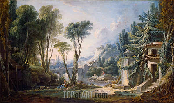 Boucher | Pastoral Landscape with River, 1741