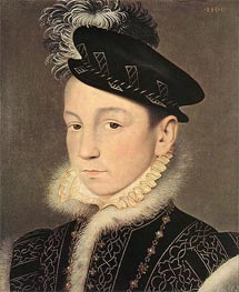 Portrait of King Charles IX of France, 1561 by Francois Clouet | Painting Reproduction