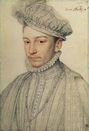 Portrait of King Charles IX of France, 1566 by Francois Clouet | Painting Reproduction
