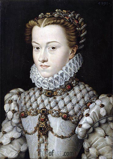 Portrait of Elisabeth of Austria, 1571 | Francois Clouet| Painting Reproduction