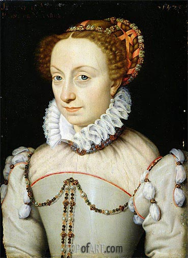 Jeanne III d'Albret Queen of Navarre, 1570 | Francois Clouet| Painting Reproduction