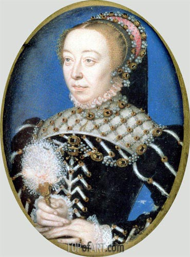 Portrait of Catherine de Medici, c.1555 | Francois Clouet| Painting Reproduction
