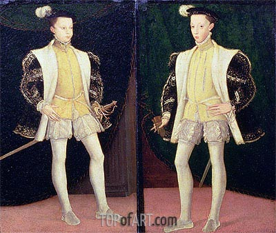 Francis II and Charles IX of France, undated | Francois Clouet | Painting Reproduction