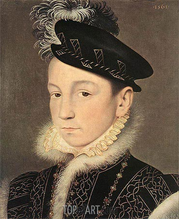 Portrait of King Charles IX of France, 1561 | Francois Clouet | Gemälde Reproduktion