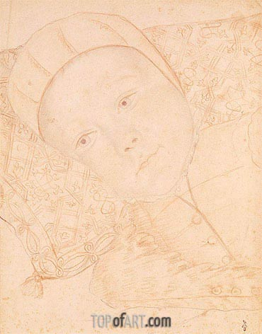 Francois Clouet | Child of Henri II and Catherine de Medici possibly Charles Maximilien Duke of Orleans, c.1550