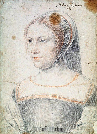 Francois Clouet | Anne de Pisseleu, Duchesse d'Etampes or Possibly Diane de Poitiers as a Widow, c.1520/25
