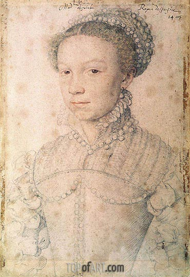 Elisabeth of France, 1559 | Francois Clouet| Painting Reproduction
