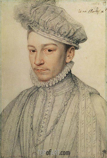 Portrait of King Charles IX of France, 1566 | Francois Clouet | Painting Reproduction