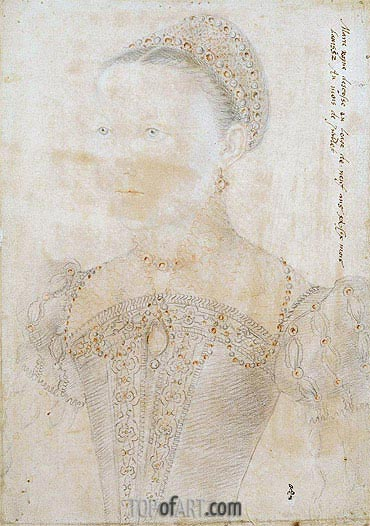 Portrait of Mary Stuart, Queen of Scotland at the Age of Nine, July 1552 | Francois Clouet| Painting Reproduction