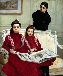 Family Portrait of a Boy and his Two Sisters, 1900 von Francois Flameng | Gemälde-Reproduktion