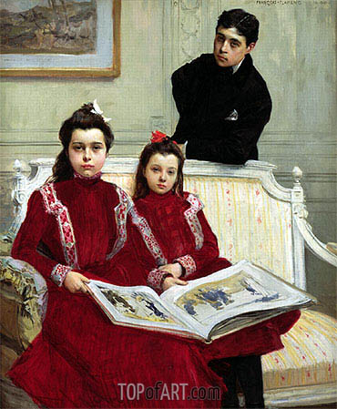 Family Portrait of a Boy and his Two Sisters, 1900 | Francois Flameng | Gemälde Reproduktion