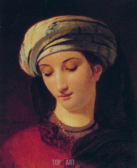 Portrait of a Woman with a Turban, 1826 | Francois Navez | Gemälde Reproduktion