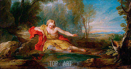 Narcissus Contemplating His Image Mirrored in the Water, c.1725/28 | Francois Lemoyne| Painting Reproduction