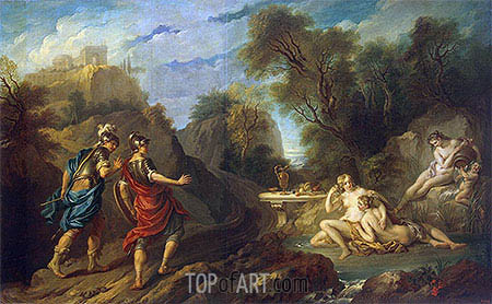Messengers of Godfrey of Bouillon in Gardens of Armida, 1735 | Francois Lemoyne | Painting Reproduction