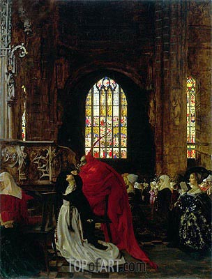 Mephistopheles and Marguerite in the Cathedral,  | Frank Cadogan Cowper | Painting Reproduction