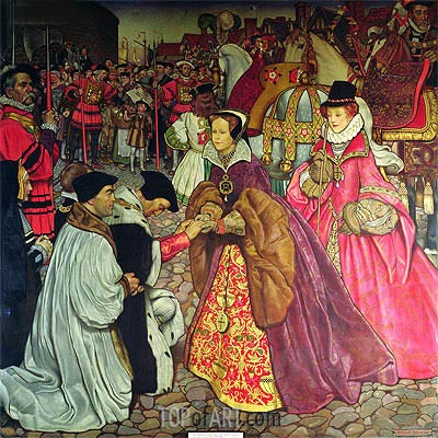 Entry of Queen Mary I with Princess Elizabeth into London in 1553, 1910 | Frank Cadogan Cowper| Painting Reproduction