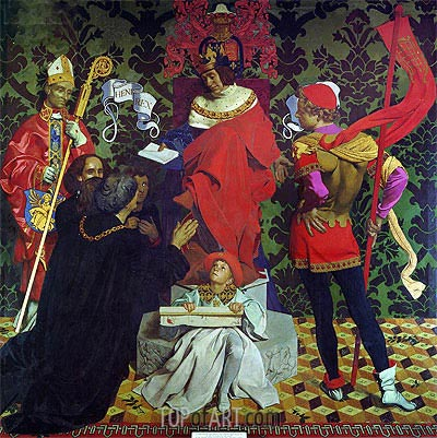 John Cabot and his Sons Receive the Charter from Henry VII to Sail in Search of New Lands, 1910 | Frank Cadogan Cowper | Painting Reproduction