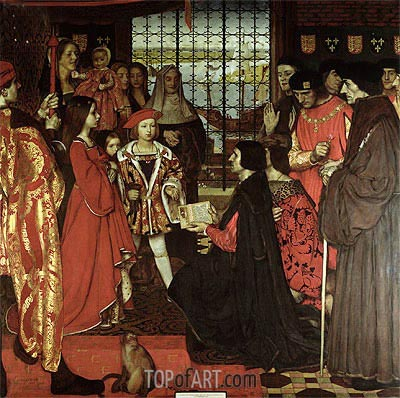 Frank Cadogan Cowper | Erasmus and Sir Thomas More Visit the Children of Henry VII at Greenwich in 1499, 1910