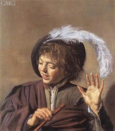 Singing Boy with a Flute, c.1623/25 by Frans Hals | Painting Reproduction