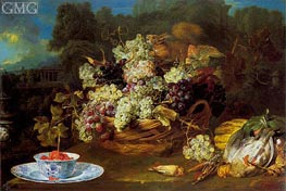 Basket of Fruit in a Landscape with Squirrel, c.1650/60 by Frans Snyders | Painting Reproduction