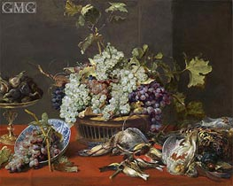 Still Life with Grapes and Game, c.1630 by Frans Snyders | Painting Reproduction