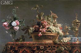 Grapes in a Basket and Roses in a Vase | Frans Snyders | Painting Reproduction