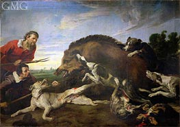 The Wild Boar Hunt, c.1640 by Frans Snyders | Painting Reproduction